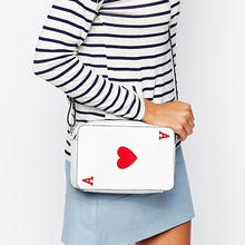Fashion brand design pu leather heart-shaped embroidery white poker design flap shoulder bag ladies messenger bag handbag purse(China)