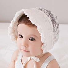 Princess Lace Baby Bonnet Enfant Lace-up Baby Sun Hat for Girl 3-18M Beige Color