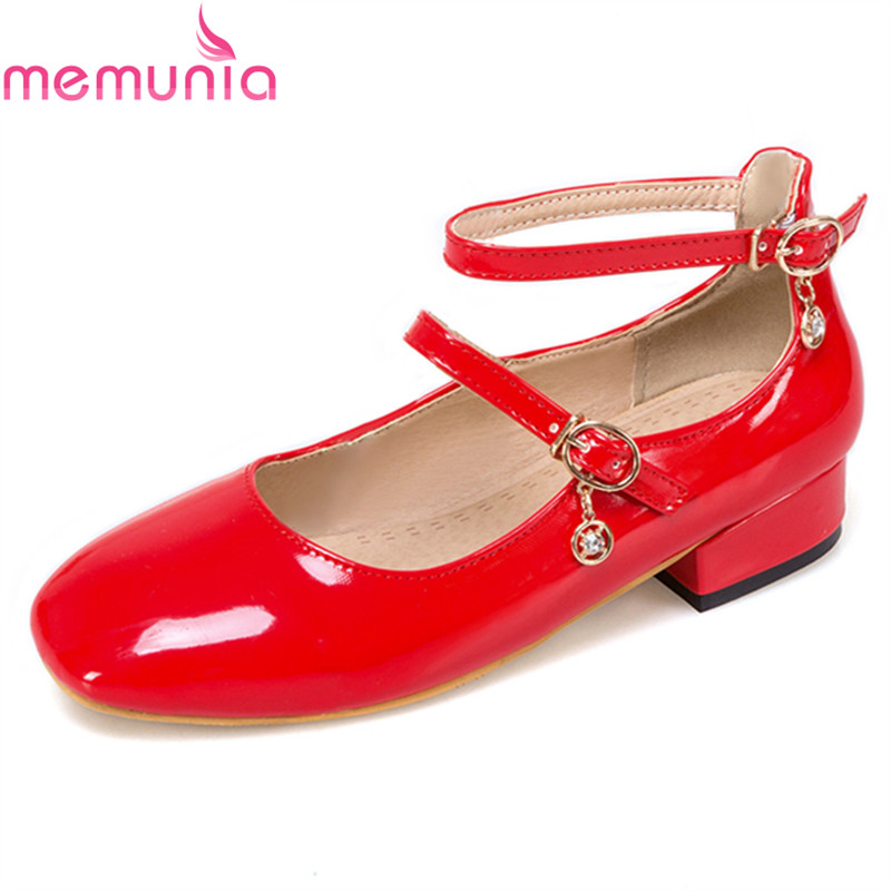 MEMUNIA new arrival spring autumn fashion casaul shoes low heel square toe high quality patent leather solid women shoes<br>