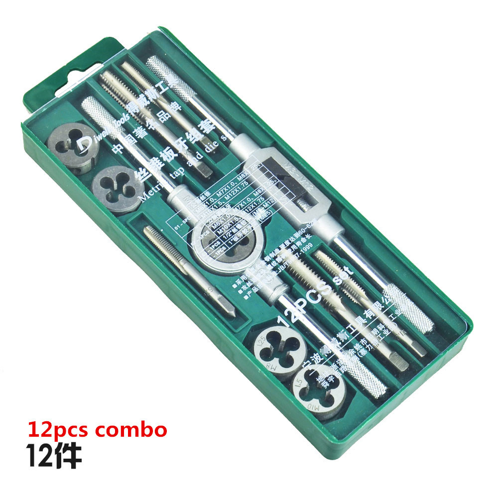 12pcs metric system tap and die combo suit tapping threading tool<br><br>Aliexpress