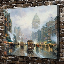 H1325 Thomas Kinkade San Francisco Market Street, HD Canvas Print Home decoration Living Room Bedroom Wall pictures Art painting