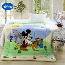 Mickey Mouse Goofy Comforters Disney Character Printed Cotton Cover Quilt Boys Bedroom Decor Single Twin Queen Size Green Beige(China)
