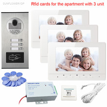 Wired Intercom For Private House Video Intercoms 7inch Color 3 Monitors And Intercom Door Rfid Camera 3 Buttons For 3 Apartments