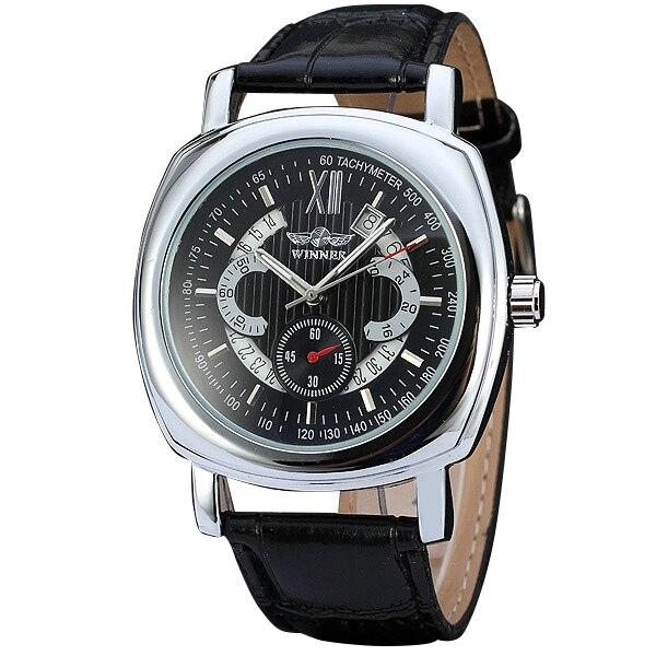 Fashion Calendar Date Mens Watches 2017 Top Brand Luxury WINNER Automatic Mechanical Wrist Watches Business Dress Clock +BOX<br><br>Aliexpress