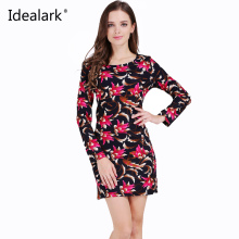 Idealark 2017 dress Women Clothing Spring Fashion Flower Print Dress Ladies Long Sleeve Casual Autumn Dresses Vestidos WC0592