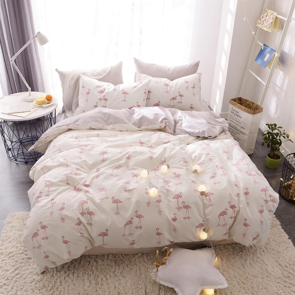 Flamingo Printed Duvet Cover Set 100 Cotton Adults Bedding Set Twin