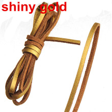 diy braided thread leather cord necklaces bracelets handmade imitate rope 3mm flat single velvet shiny gold jewelry findings 30m