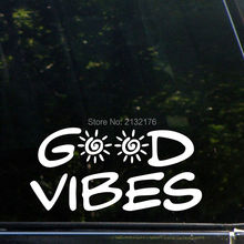 "Good Vibes - 8"" x 4"" - Vinyl Die Cut Decals/ Bumper Stickers For Windows, Cars, Trucks, Laptops, Etc.-White"