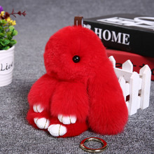 13CM Bunny Keychain Rabbit Cute Fluffy Key chain Fur Pompom Key Ring Pom Pom Toy Doll Bag Charm Car Key Holder