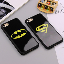 Fashion Batman Superman Phone Cover for iPhone 7 6 6s Plus 5 5s SE Cases Silicone Mirror Case for iPhone 6 6s 7 Plus Phone Bags