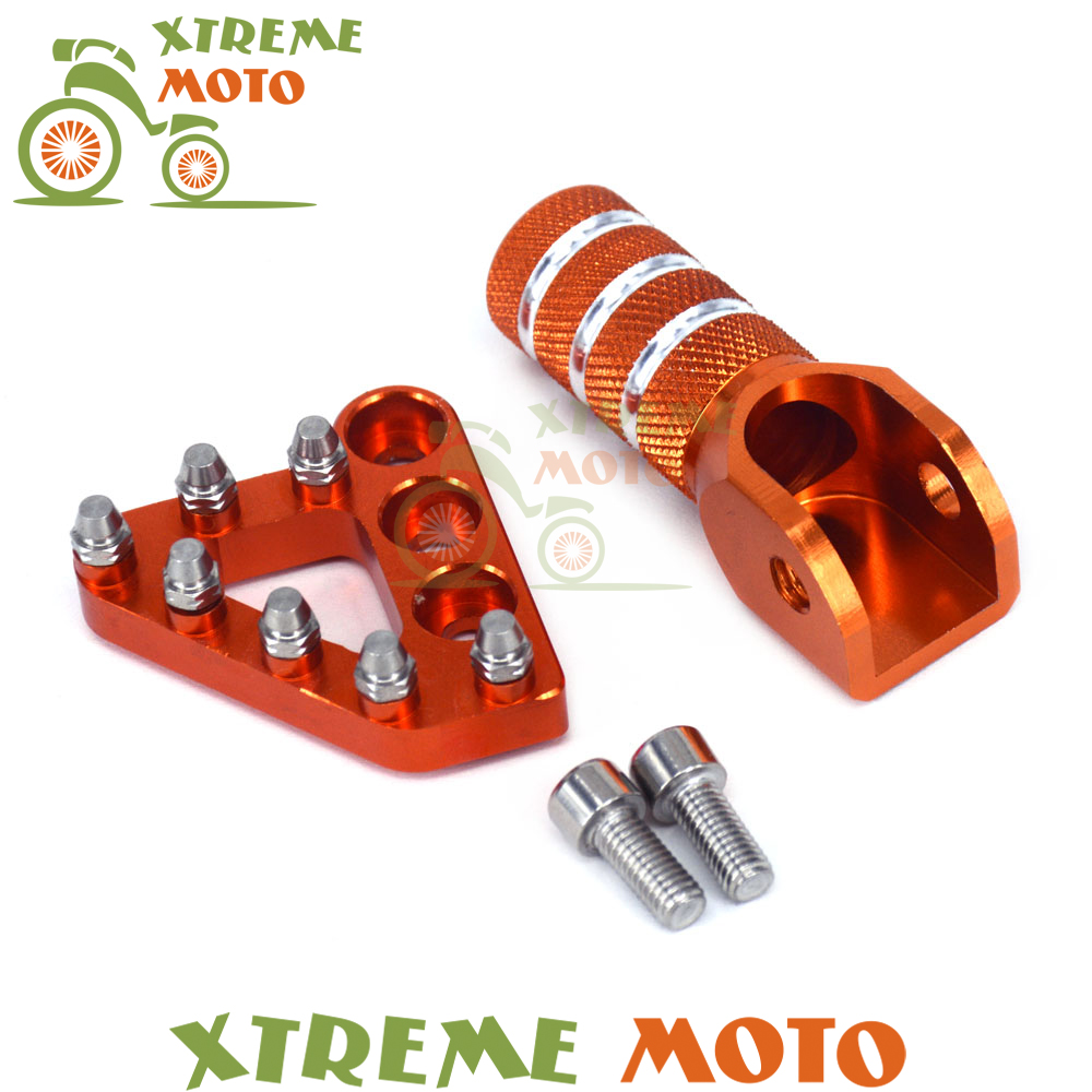 New Billet Rear Brake Pedal Step Tips &amp; Gear Shifter Lever Tip For KTM SX EXC XCF XC XCW SXF SMR LC4 MX 125-530 Adventure Duke<br>