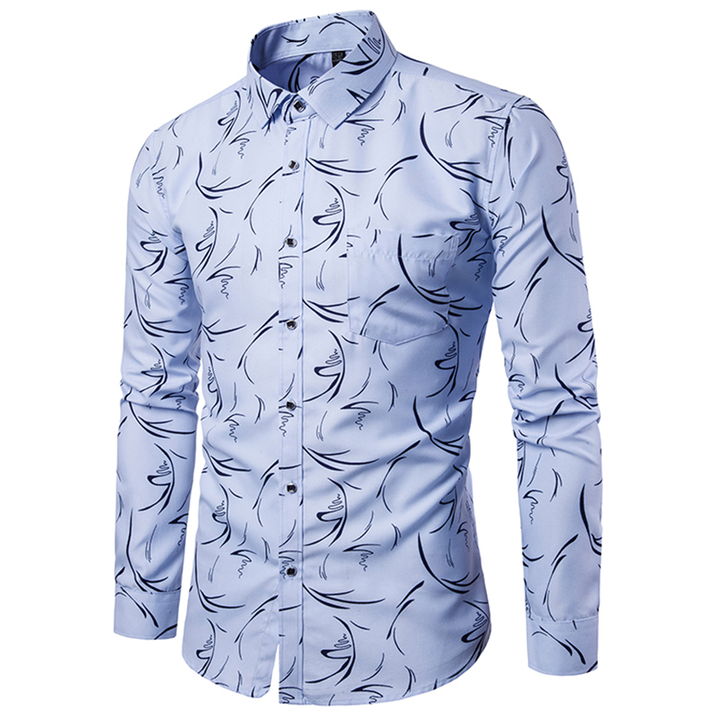 18 Shirt Men Printing Long Sleeves Shirt Camisa Masculina Men Slim Fit Casual Dress Shirt Brand Cotton Male Shirt 5XL 9