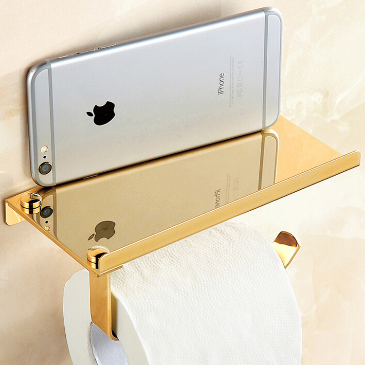 Free Shipping Bathroom Lavatory Toilet Paper Holder and Dispenser Wall Mount Golden Toilet Tissure Rack<br><br>Aliexpress