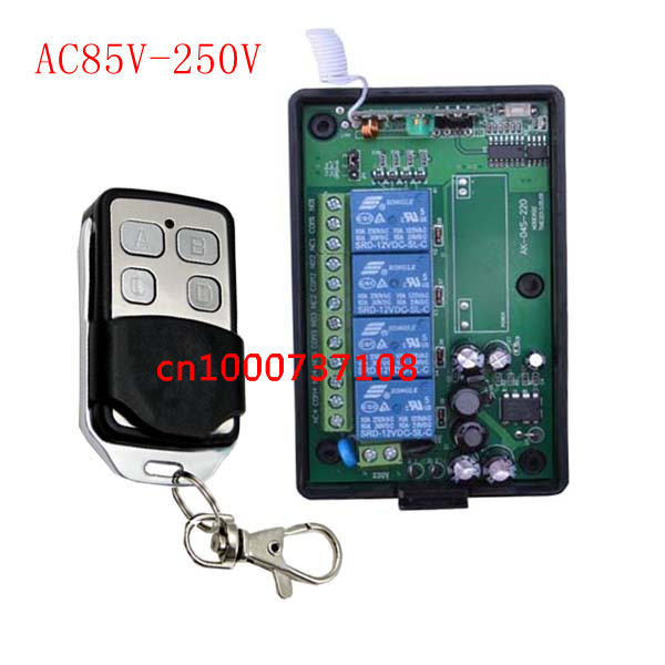 AC85v~250V 110V 220V4CH RF Wireless Remote Control Relay Switch Security System Garage Doors, Electric Doors<br><br>Aliexpress