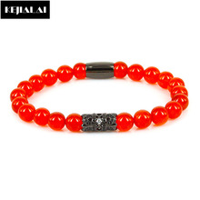 2017 Fashion Men Bracelet 8mm Natural Red  Beaded Bracelets for Women Micro Pave CZ Long Tube Bohemian Jewelry Paved Anchor