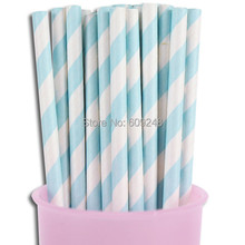 100pcs Mixed Colors Cheapest Vintage Biodegradable Decorative Bulk Baby Shower Party Light Blue Striped Paper Straws(China)