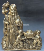 "FREE SHIPPING 15"" Chinese Wealth Yuanbao TongZI Kid Longevity God Hold Dragon Crutch Sculpture(China)"
