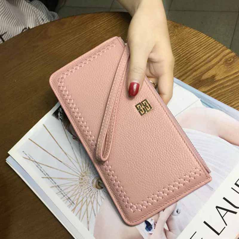 Women Clutch Genuine Leather Wallets Girls Rivet Purses Hot Design Vintage Women Purse Bags Lady Card &amp; ID Holders WT0100<br>