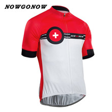 NOWGONOW 2017 cycling jersey men team clothing bike wear red Swiss custom racing road mountain summer short sleeve Quick Dry