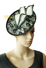Ivory black lace fascinator hat for Kentucky Derby,wedding,races,party.