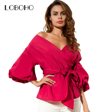 Off Shoulder Women Tops And Blouses Autumn 2017 New Arrival Cotton Shirt With Lantern Sleeve Bow V Neck Fashion Sexy Wrap Blouse
