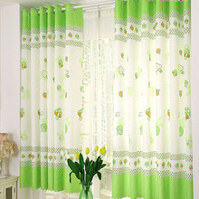 Mushroom Calico Finished Product Cloth Window Screens Window  Drapes Bedroom Tulle Curtains for living Room