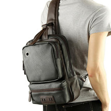 Men PU Leather Single Shoulder Messenger Bag School Rucksack Casual Vintage Crossbody Bags Male Chest Day Back Pack High Quality