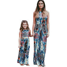 Buy Boho Maxi Dress 2018 Fashion Women Sexy Backless Halter Summer Dress Vintage Long Vestido Family Matching Outfit Print Dress 3XL