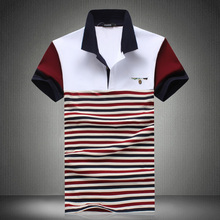 Polo New 2017 Summer style Explosion Models Polo Shirt striped patchwork Casual Shirts high quality cotton shirts plus size 5XL