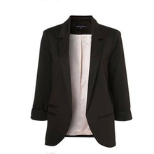 Factory Price! New Women Casual Slim Suit Blazer Suits Coat 3/4 Sleeve Outwear Business Blazer