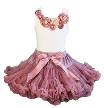 Girls Rosettes Vintage Garden White Tank Top Pettitop with Pettiskirt 2 pcs set Outfits 1-7Y