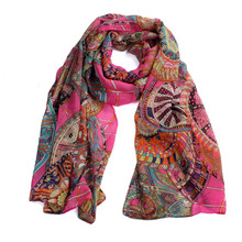 Fashion Women Girl Chiffon Retro scarves Wheel pattern Printed Silk Soft Scarf Shawl Scarfe Female charpe bufandas mujer 2017