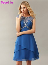 Elegant A-line Blue Chiffon Short Cocktail Dresss 2017 Beaded Crystals Sparkle Juniors Informal Prom Cocktail Dress Custom Made