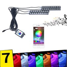 New !9 LED bluetooth RGB Accent neon glow strip Light Kit app controlled automotive lighting for Android iOS
