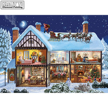 Snow villa Full Diamond embroidery landscape Diy Diamond painting house 3d Diamond mosaic round icon Paste Christmas gif