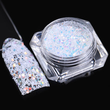 Hexagon Snowflake Nail Sequins 1.5g Colorful Stripe White Glitter Paillette Flakies Manicure Nail Art Decoration(China)
