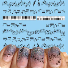 1 Sheets Hot Nail Designs Black Music Note Printing DIY Nails Toes Women Nail Art Sticker Decals Tattoos Tools #New
