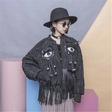 Winter Eyes PU Tassels Patchwork Loose Bomber Jacket New Long Sleeves Women Coat Fashion Cotton Coat Eyes 63332