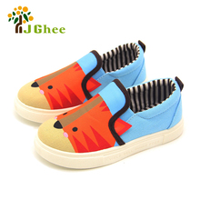 J Ghee Kids Shoes Boys Girls Cartoon Design Canvas Children Sneakers Casual Shoes Students Breathable Soft Animal Design Loafers