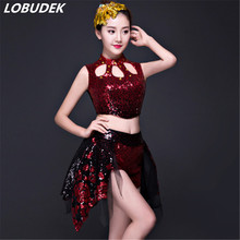 Super flash Sequins stones jazz Modern dance costume red black female suit Teams stage performance sets Cheering squad show(China)