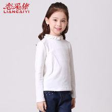 Liancaiyi 2017 Spring Girl's Base Shirt Undershirt Pure infantis Menina Childrens Tops T-shirts Girls Clothing Teenage Clothes