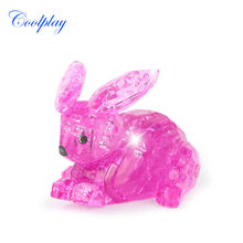 Coolplay 56pcs CP9027 DIY Funny Rabbit 3D Puzzles the IQ intelligence toys 3D puzzle plastic toys professional gifts(China)
