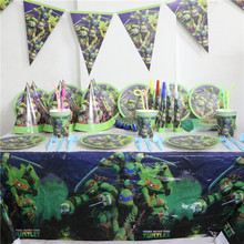 Ninja Turtles Birthday Party Supplies Tableware Set Cups&Plates&Napkins&Flag&Tablecover For 8Kids Cartoon Boys Love