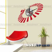 1x Large Cool DIY Home Decor Frameless Wall Clock Vinyl Sticker Stripe Design Decal 10A065 MAX3 Brand Room Decors