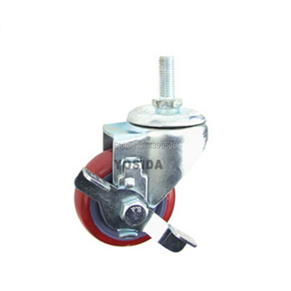 New 3 M12 Swivel Wheel Caster Brake Industrial Castor Univeral Wheel PU 360 Degree Rolling Heavy Caster Double Bearing Wheel<br>