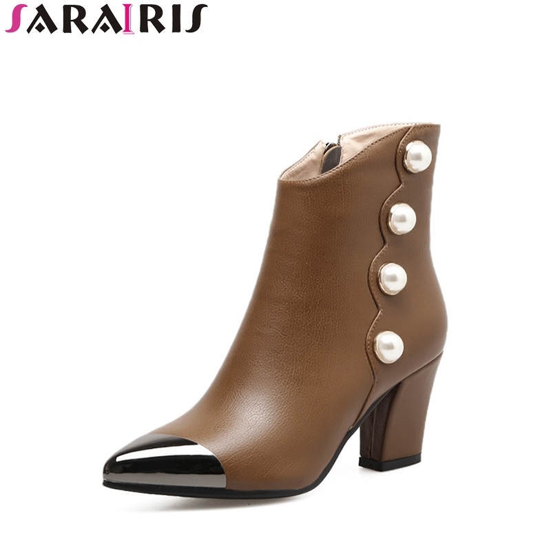 SARAIRIS Spring Autumn Large Size 33-40 Pointed Toe Ankle Boots Aritificial Pearl Beading Chunky High Heels Punk Women Shoes<br>