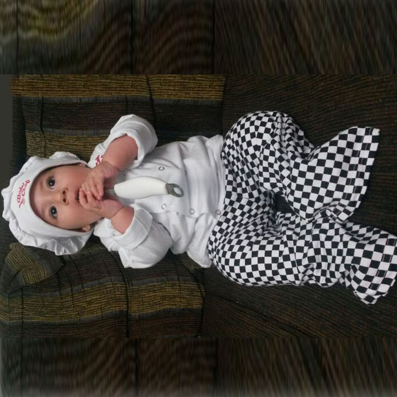 Baby boy girl cook chef costume infant toddler cotton clothing set  hat+top+ pants  photos props purim Halloween event outfits<br><br>Aliexpress
