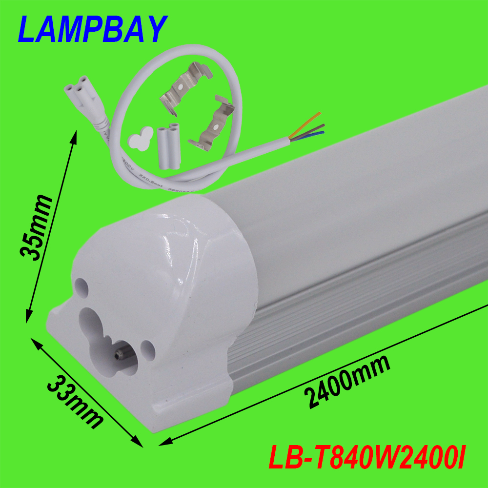 (50 Pack) Free Shipping T8 integrated LED tube 8ft bulb 240cm 40W with accessory surface mounted lamp to lamp connect 85-277V<br><br>Aliexpress