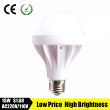 2016 NEW led lamp SMD 5730 3W 5W 7W 9W 12W 15W LED bulb 110V 220V 230V 240V LED E27 Cold white warm white LED lights(China)