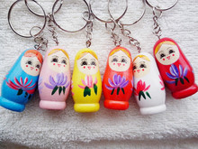 6pcs Pure handmade wedding return items wooden Russian dolls Stainless steel buckle cute key chains Key ring Decoration anywhere